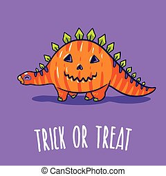 Halloween Poster or Greeting card with cartoon dinosaur in...