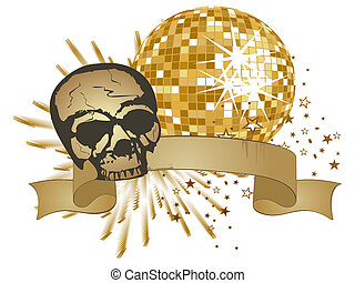 vector illustration of a scull on an abstract party poster