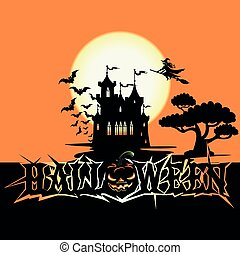 Halloween poster with castle