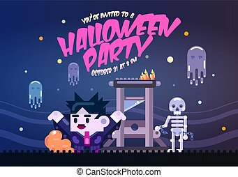 Halloween poster with guillotine, ghosts, skeleton and dracula. Invitation template for Halloween party. Flat illustration.