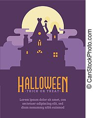 Halloween poster with old house in the swamp. Witch hut flat illustration  flyer with text. Trick or treat. Dark fantasy background