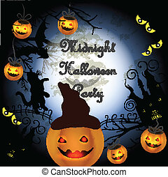 Halloween poster with pumpkin for p