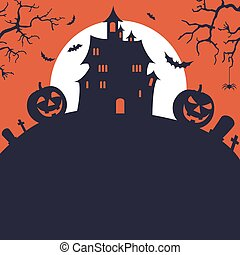 Halloween poster with pumpkins castle bats in flat design