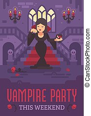 Halloween poster with vampire lady in a black dress with a glass of wine or blood standing in the moonlit hall of a gothic mansion in front of grand staircase. Trick or treat. Vampire party flyer