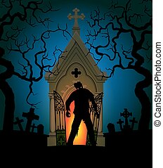 zombie and crypt - Halloween poster with zombie and crypt at...
