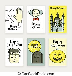 Halloween posters set, spooky castle, vampire and zombie