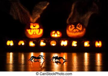 halloween, potirons, araignées