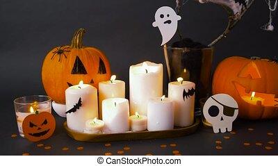 halloween, potirons, bougies, décorations