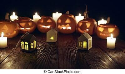 halloween, potirons, bougies, jack-o-latern