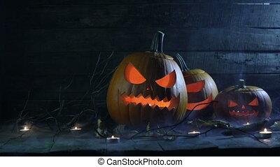 halloween, potirons, bougies