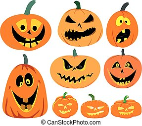 halloween, potirons, -, ensemble, vecteur