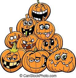 halloween, potirons, groupe, dessin animé
