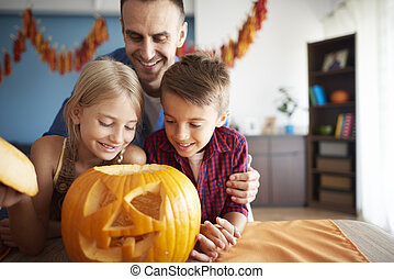 halloween, préparer, famille, heureux