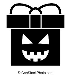 Halloween present solid icon. Gift box with pumkin face web vector illustration isolated on white. Package glyph style design, designed for web and app. Eps 10.