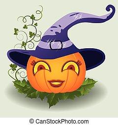 Halloween pretty pumpkin, vector