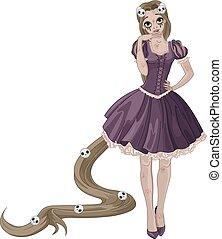 Illustration of beautiful girl dressed up like zombie Rapunzel