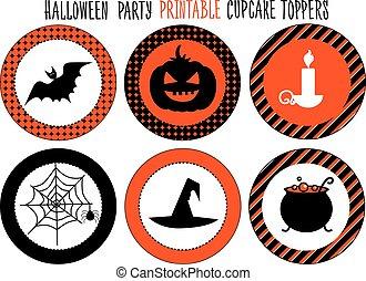 halloween, printable, partie., set.