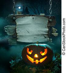 halloween, projektować, tło