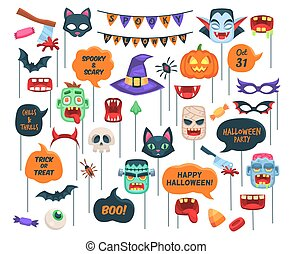 Halloween props. Photo booth requisite speech bubbles with text, chills and thrills, boo, trick or threat and holiday symbols zombie and witch hat, vampire, pumpkin and bat vector cartoon isolated set
