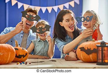 halloween., przygotowując, rodzina
