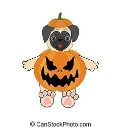 Halloween pug illustration