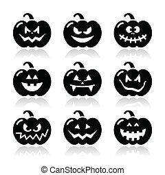 Halloween pumkin vector icons set