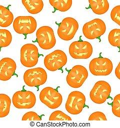 Halloween Pumkins Seamless Pattern Background. Vector