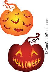 halloween, pumkins, vektor