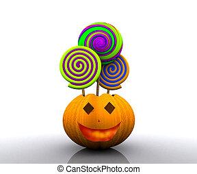 halloween, -, pumpk, fond, 3d
