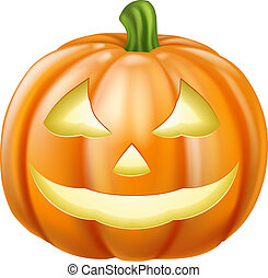 Halloween Pumpkin - A drawing of an orange carved Halloween...