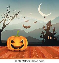 halloween pumpkin against spooky landscape