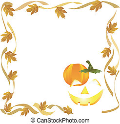 halloween pumpkin and autumn leaves