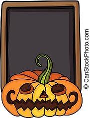 Halloween pumpkin and blackboard - Scalable vectorial image...