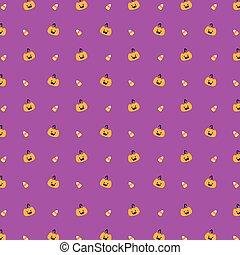 Halloween Pumpkin and Candy Corn Seamless Pattern Vector