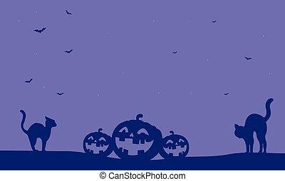 Halloween pumpkin and cat vector
