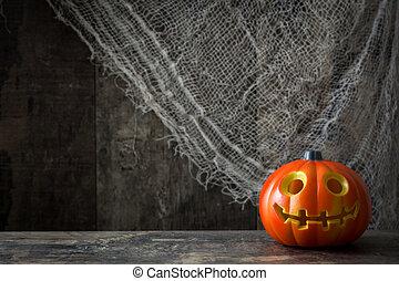 Halloween pumpkin and cobweb