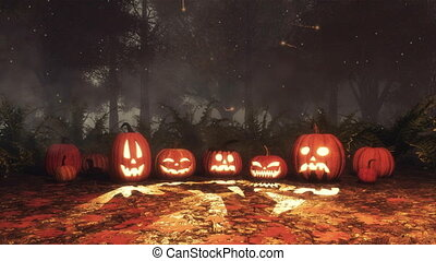 Halloween pumpkin and fairy lights in night forest - Various...