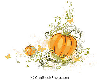 Halloween pumpkin and floral ornament