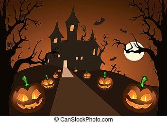 Halloween pumpkin and haunted castle