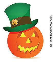 halloween pumpkin and saint patricks hat