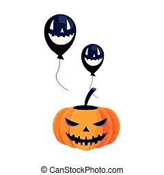 halloween pumpkin and scary balloons