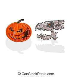 Halloween pumpkin and skull