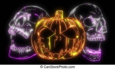 halloween Pumpkin and skulls video animation - halloween...