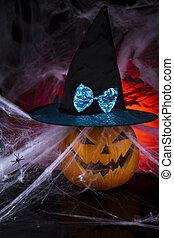 Halloween pumpkin and spider