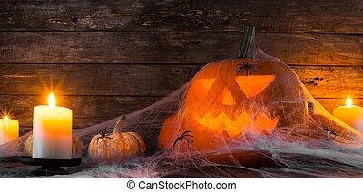 Halloween pumpkin and spiders