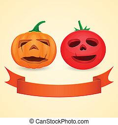 Halloween Pumpkin and Tomato