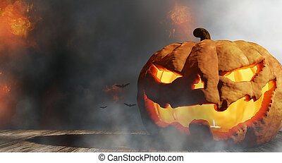 Halloween pumpkin background with fire flames and smoke 3d-illustration