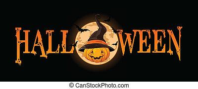 Halloween banner with Pumpkin wearing witch hat