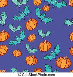 Halloween Pumpkin Bat Party Pattern - Halloween party...