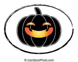 Freehand Drawn Black And White Cartoon Halloween Pumpkin